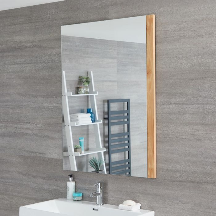 Milano Oxley - Golden Oak Modern Wall Hung Mirror - 1000mm x 750mm
