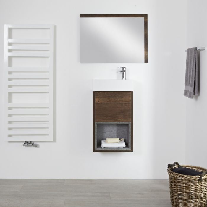 Milano Bexley - Dark Oak 400mm Wall Hung Open Shelf Cloakroom Vanity Unit with Basin