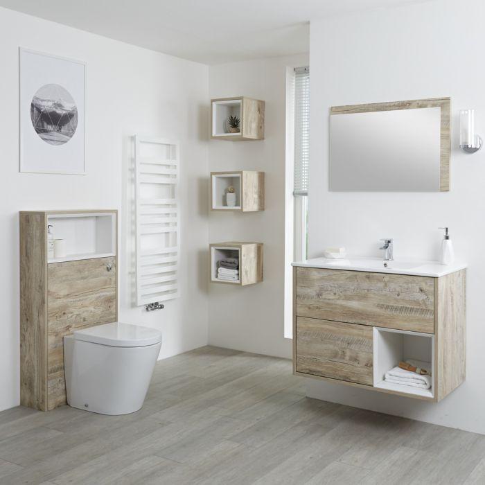 Milano Bexley - Light Oak Modern 800mm Open Shelf Vanity Unit, WC Unit, Pan, Three Storage Units and Mirror
