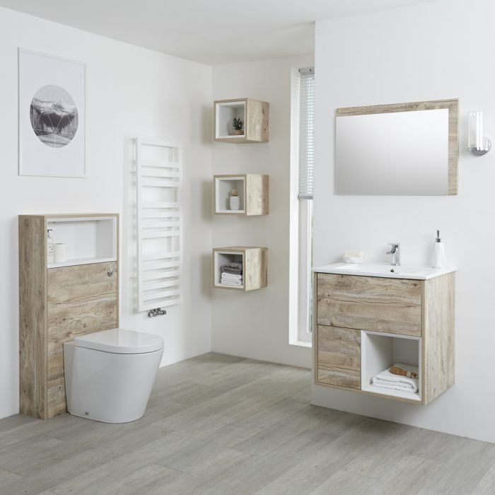 Milano Bexley - Light Oak Modern 600mm Open Shelf Vanity Unit, WC Unit and Back to Wall Pan