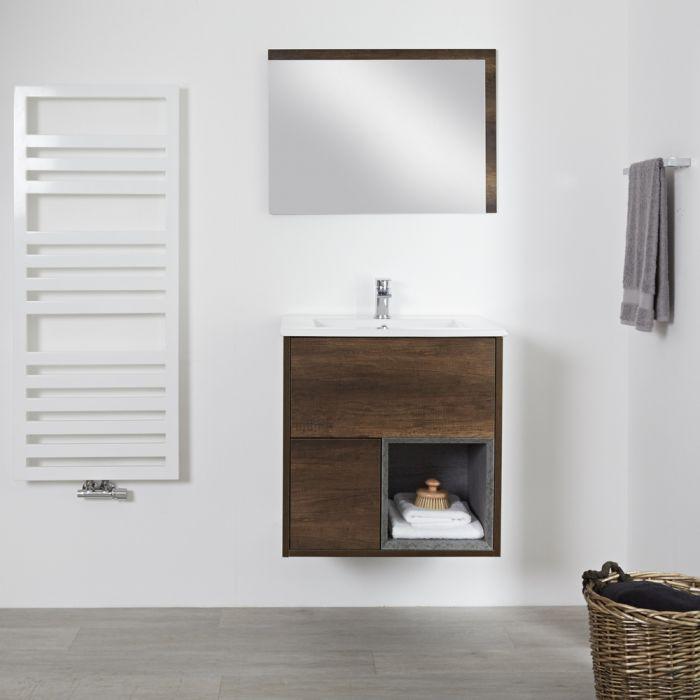 Milano Bexley - Dark Oak 600mm Wall Hung Open Shelf Vanity Unit with Basin
