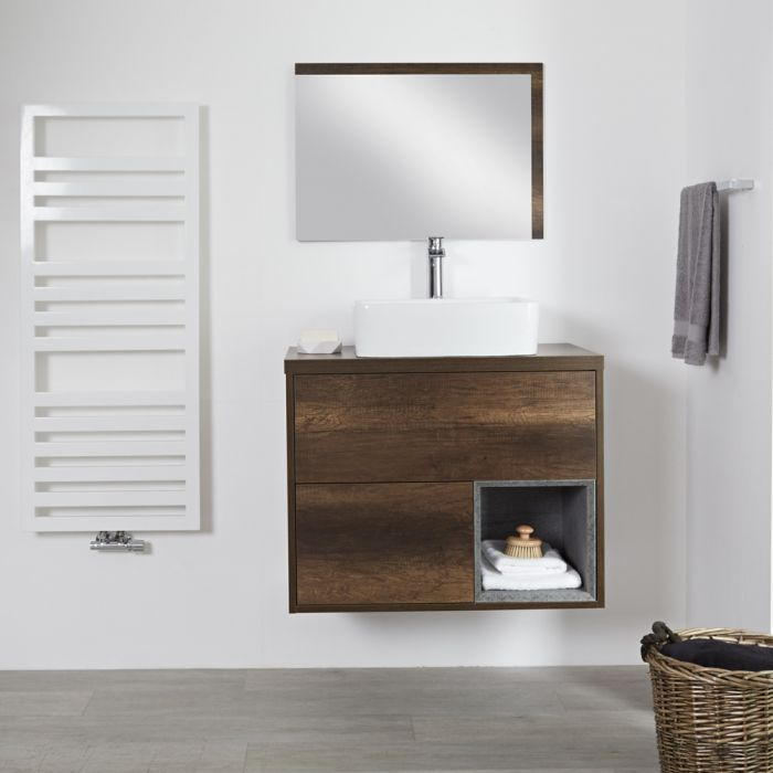 Milano Bexley - Dark Oak 800mm Wall Hung Open Shelf Vanity Unit with Rectangular Countertop Basin
