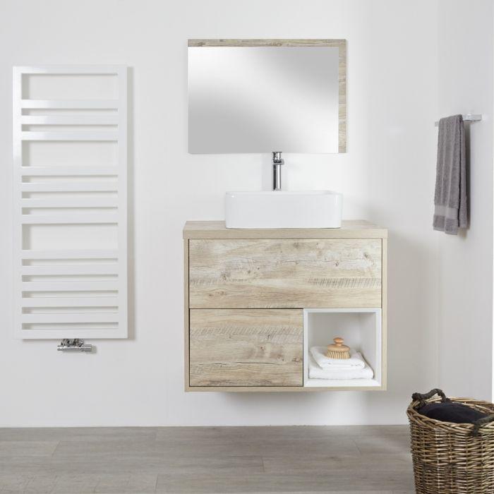 Milano Bexley - Light Oak 800mm Wall Hung Open Shelf Vanity Unit with Rectangular Countertop Basin