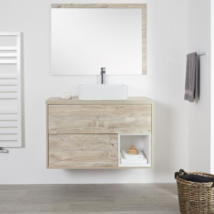 Milano Bexley - Light Oak 1000mm Wall Hung Open Shelf Vanity Unit with Rectangular Countertop Basins