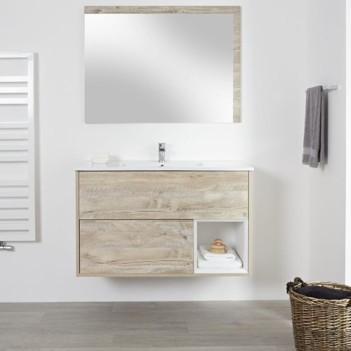 Milano Bexley - Light Oak 1000mm Wall Hung Open Shelf Vanity Unit with Basin