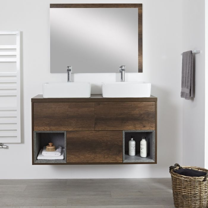 Milano Bexley - Dark Oak 1200mm Wall Hung Open Shelf Vanity Unit with RectangularCountertop Basins