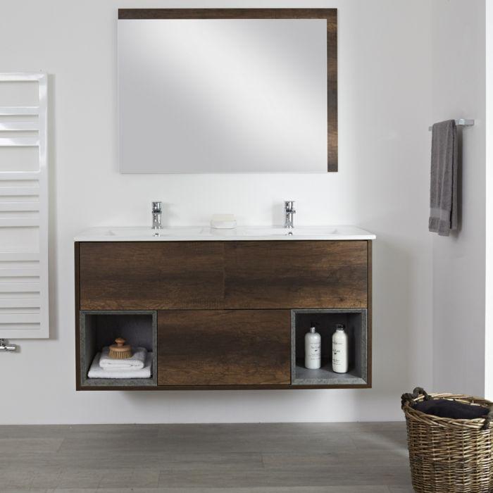 Milano Bexley - Dark Oak 1200mm Wall Hung Open Shelf Vanity Unit with Double Basin