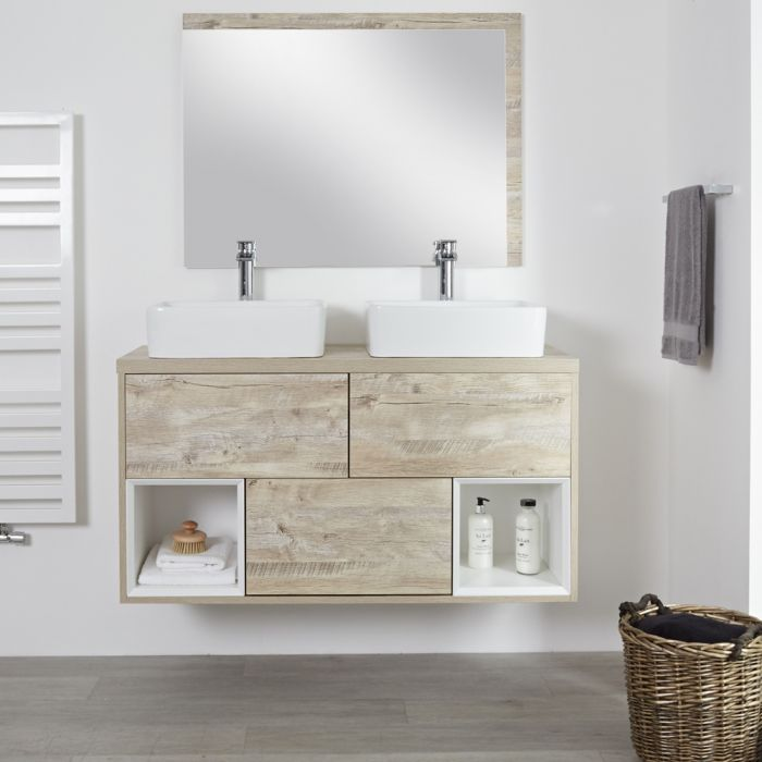 Milano Bexley - Light Oak 1200mm Wall Hung Open Shelf Vanity Unit with Rectangular Countertop Basins