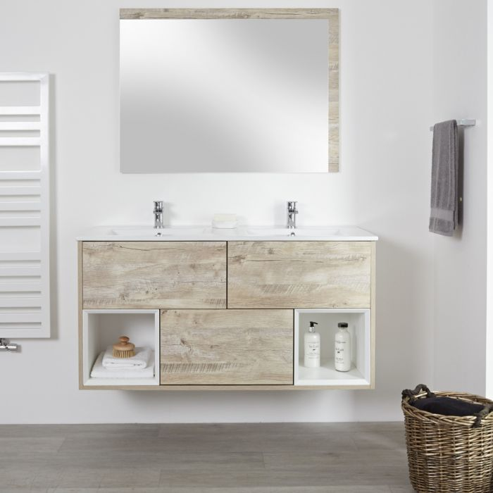 Milano Bexley - Light Oak 1200mm Wall Hung Open Shelf Vanity Unit with Double Basins