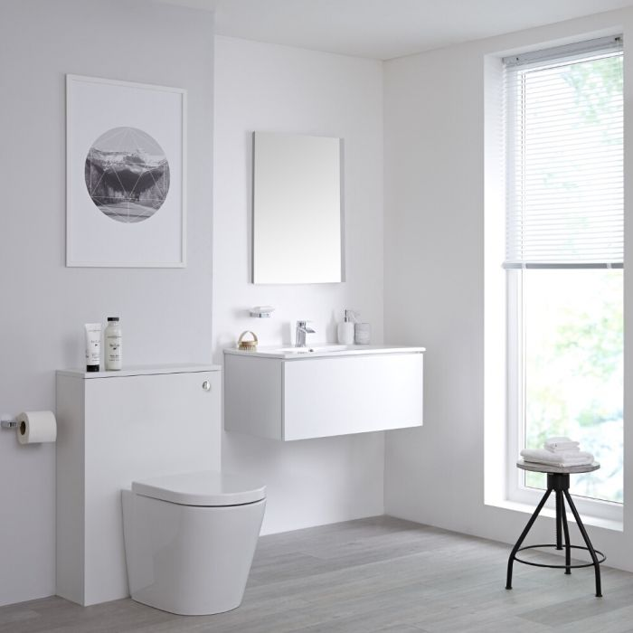Milano Oxley - White Wall Hung 800mm Vanity Unit with Basin, WC Unit and Back to Wall Pan