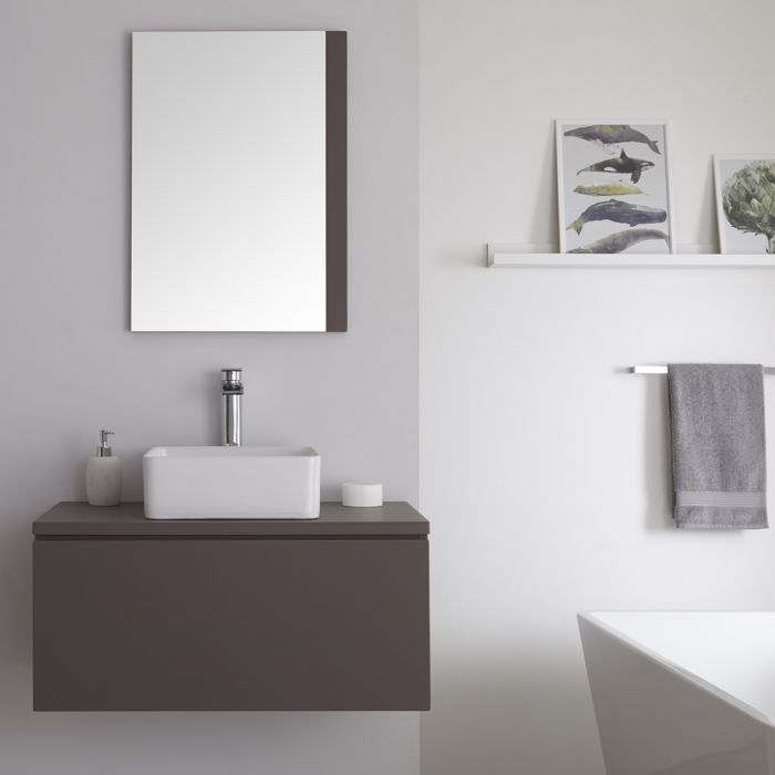Milano Oxley - Grey 800mm Wall Hung Vanity Unit with Countertop Basin