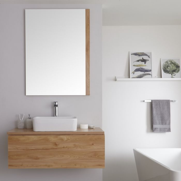 Milano Oxley - Golden Oak 1000mm Wall Hung Vanity Unit with Countertop Basin