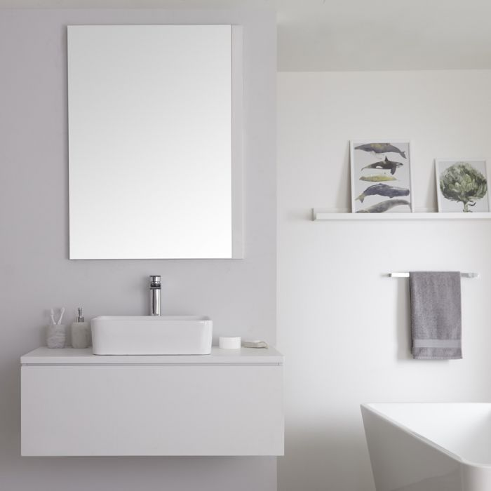Milano Oxley - White 1000mm Wall Hung Vanity Unit with Countertop Basin