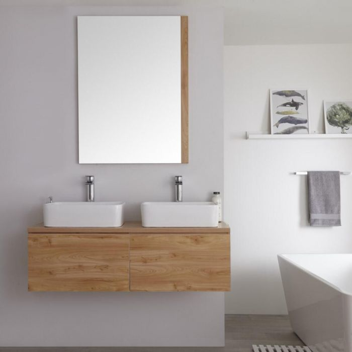 Milano Oxley - Golden Oak 1200mm Wall Hung Vanity Unit with Countertop Basins