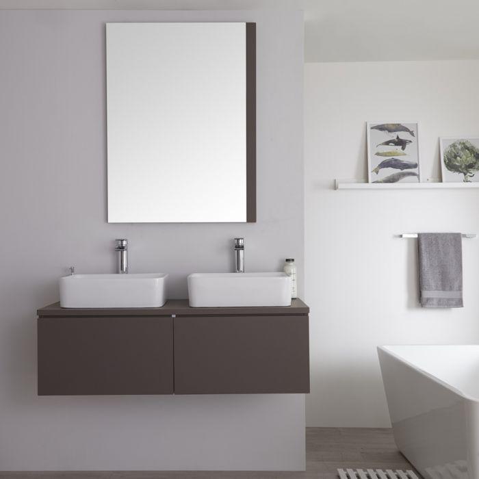 Milano Oxley - Grey 1200mm Wall Hung Vanity Unit with Countertop Basins