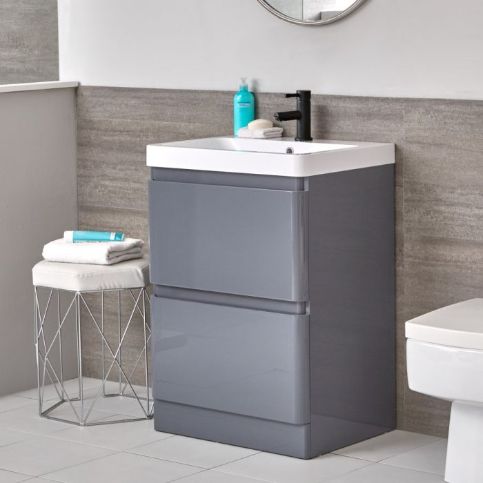 Milano Daxon - Grey Modern 600mm Vanity Unit and Basin