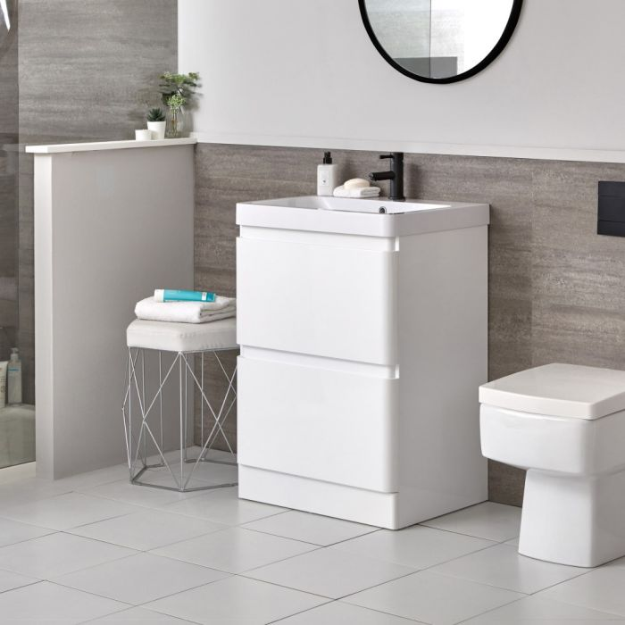 Milano Daxon - White Modern 600mm Vanity Unit and Basin