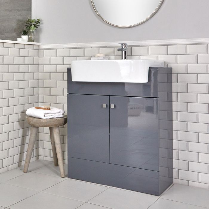 Milano Atticus - Grey Modern 670mm Vanity Unit and Basin