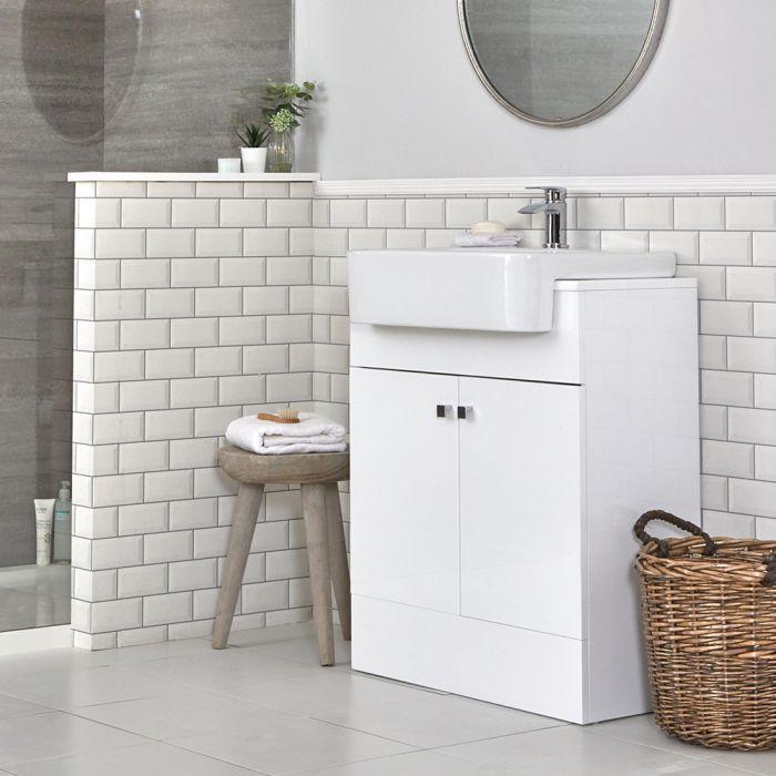 Milano Atticus - White Modern 670mm Vanity Unit and Basin