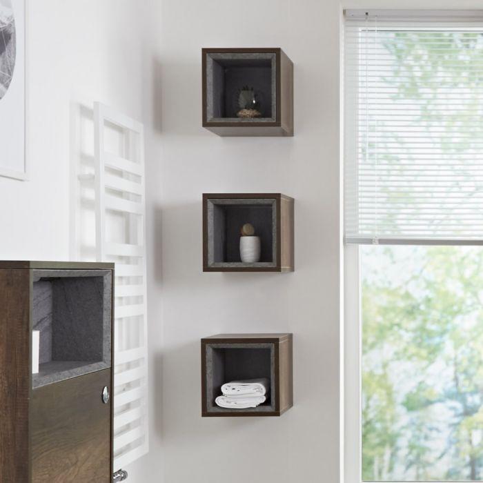 Milano Bexley - Dark Oak Modern Single Wall Hung Open Storage Unit - 300mm x 300mm