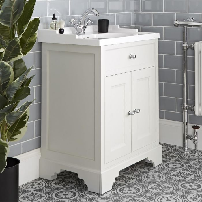 Milano Thornton - Antique White 630mm Traditional Vanity Unit with Basin