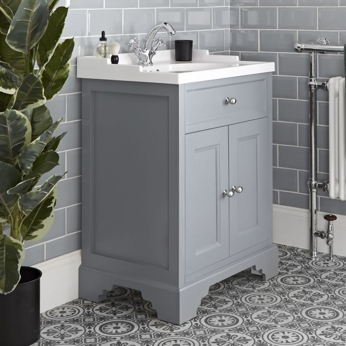 Milano Thornton - Light Grey 630mm Traditional Vanity Unit with Basin