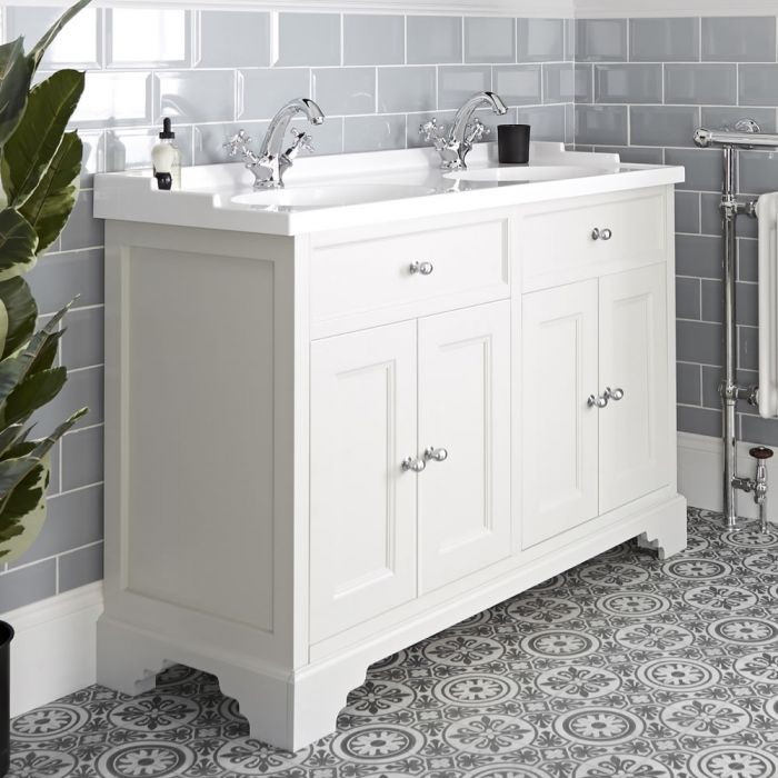 Milano Thornton - Antique White 1200mm Traditional Vanity Unit with Double Basin
