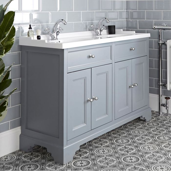 Milano Thornton - Light Grey 1200mm Traditional Vanity Unit with Double Basin