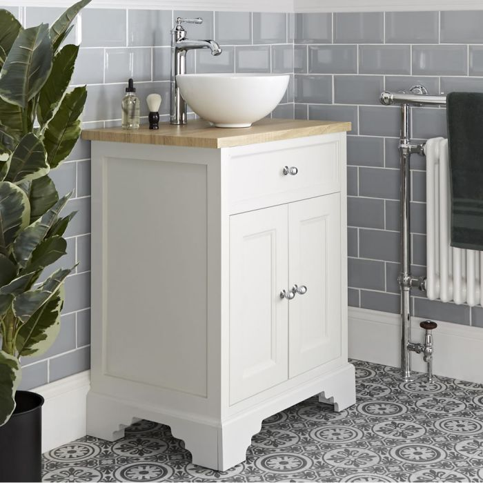Milano Thornton - Antique White 645mm Traditional Vanity Unit with Countertop Basin