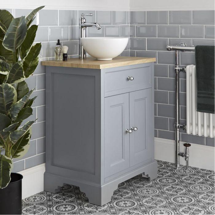 Milano Thornton - Light Grey 645mm Traditional Vanity Unit with Countertop Basin
