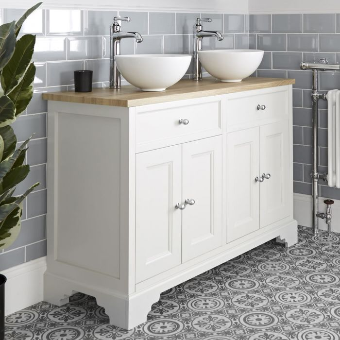 Milano Thornton - Antique White 1200mm Traditional Vanity Unit with Countertop Basins