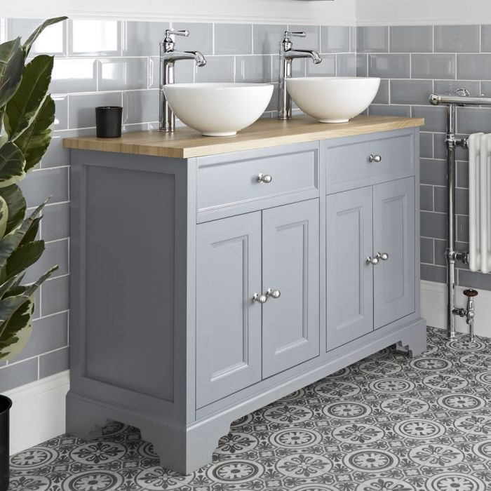 Milano Thornton - Light Grey 1200mm Traditional Vanity Unit with Countertop Basins