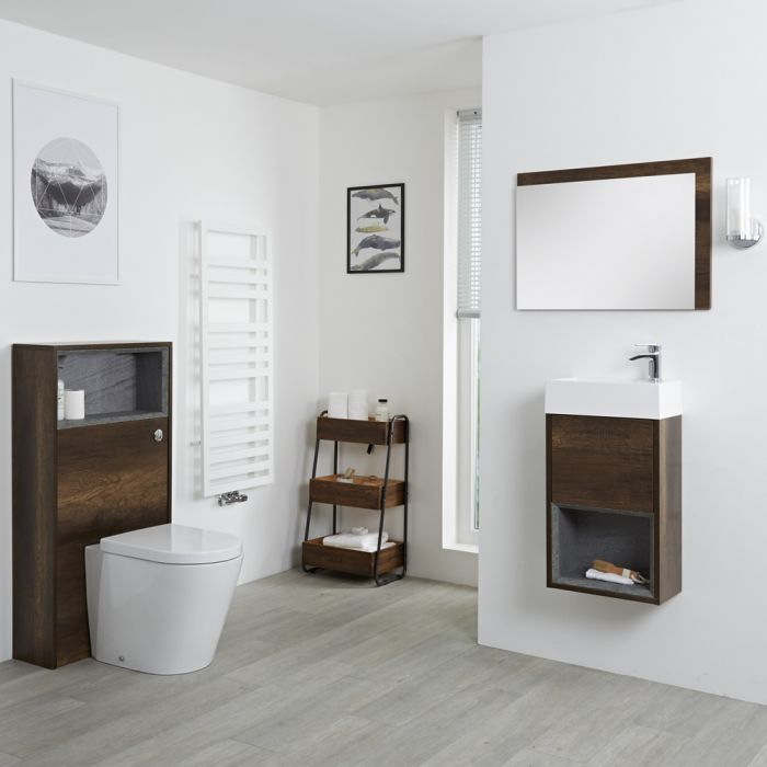 Milano Bexley - Dark Oak 400mm Vanity Unit with Basin, WC Unit, Back to Wall Pan