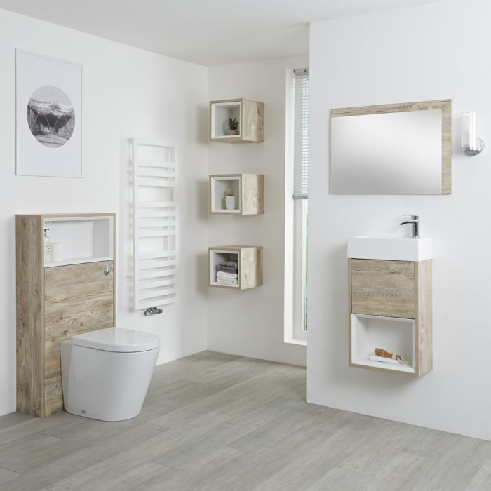 Milano Bexley - Light Oak 400mm Vanity Unit with Basin, WC Unit, Back to Wall Pan