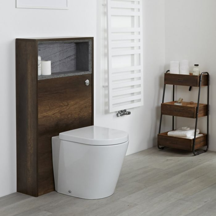 Milano Bexley - 600mm WC Unit with Back to Wall Toilet - Dark Oak