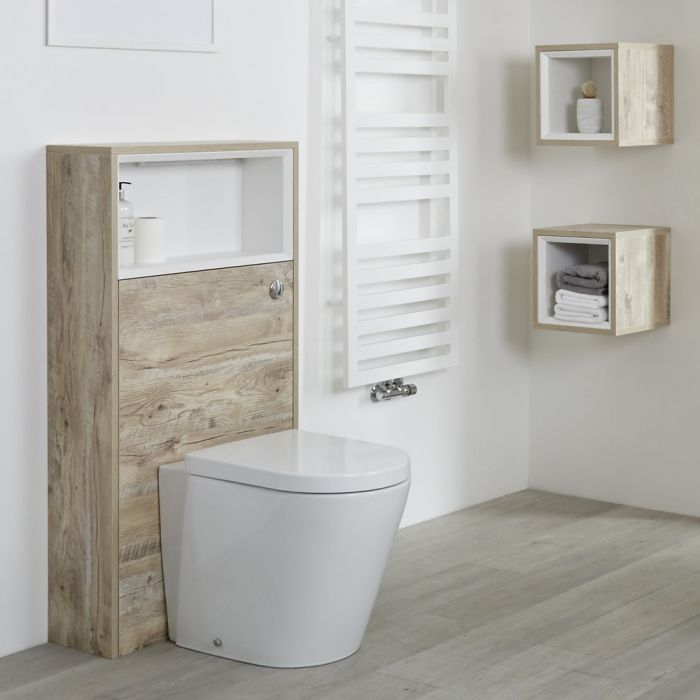 Milano Bexley - 600mm WC Unit with Back to Wall Toilet - Light Oak