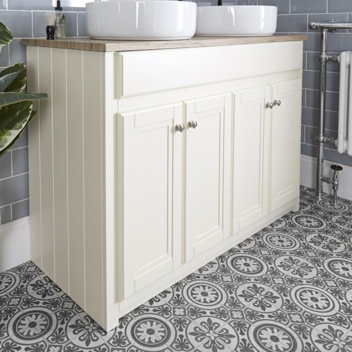 Milano Edgworth - Ivory Traditional 1200mm Vanity Unit and Countertop Basins