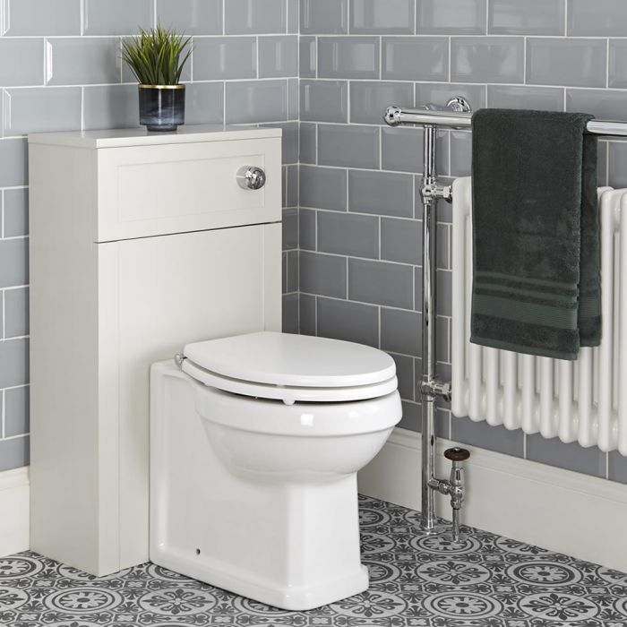 Milano Thornton - Antique White Traditional 500mm WC Unit with Back to Wall Toilet, Cistern and Seat