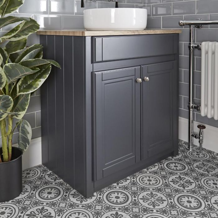 Milano Edgworth - Anthracite Traditional 800mm Vanity Unit and Countertop Basin