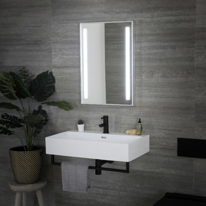 Milano Tagus - LED Bathroom Mirror with Sweep Sensor & Demister - 500mm x 700mm