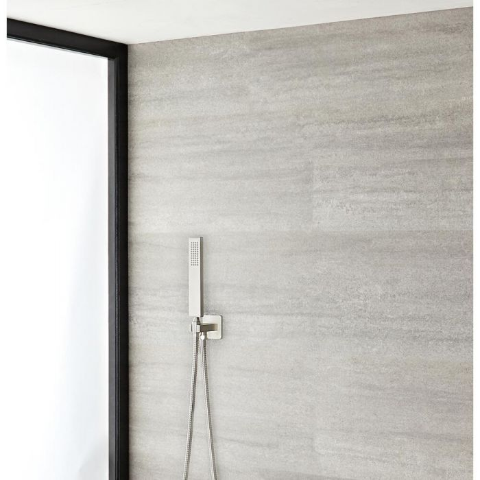 Milano Hunston - Square Shower Kit with Integrated Outlet Elbow and Bracket - Brushed Nickel