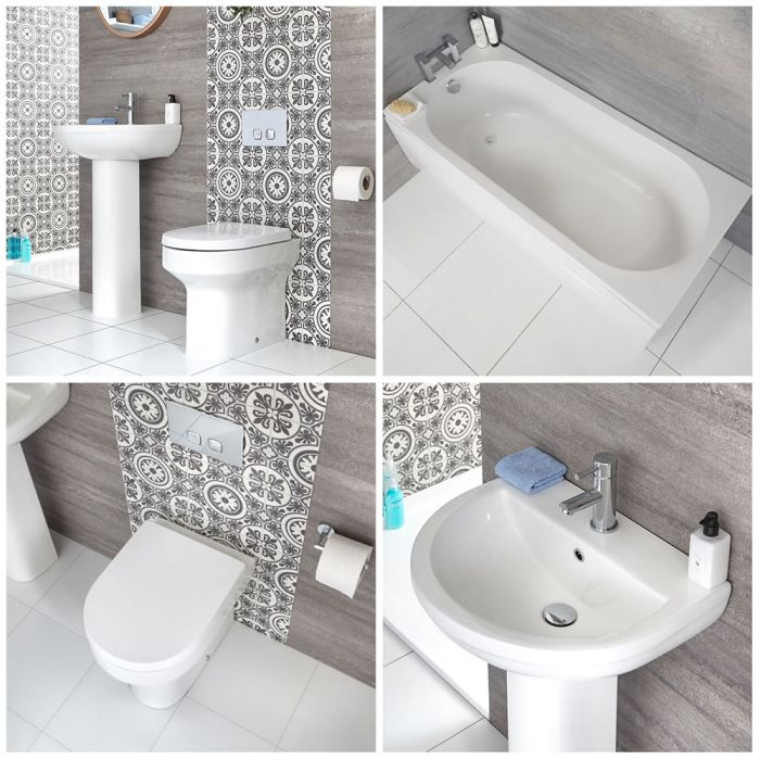 Milano Ballam - Modern Bathroom Suite with Back to Wall Toilet and Straight Standard Bath