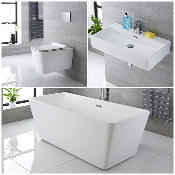 Milano Elswick - Complete Modern Bathroom Suite with Freestanding Bath and Taps