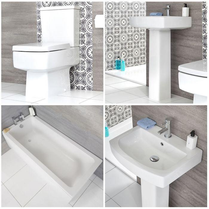 Milano Farington - Modern Bathroom Suite with Straight Standard Bath