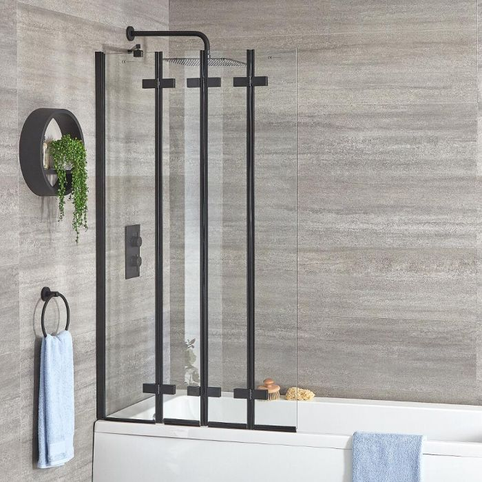 Milano Nero - Black Folding Bath Screen