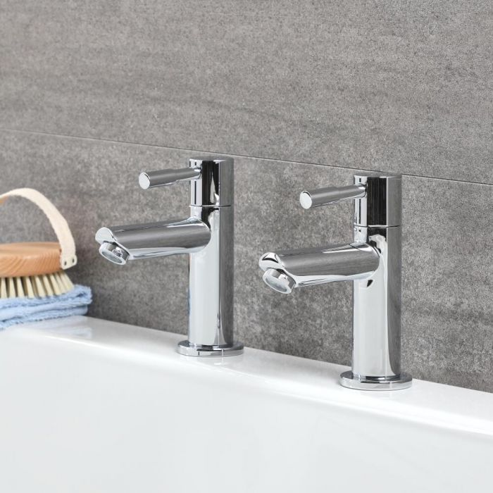 Milano Mirage - Modern Bath Pillar Taps - Chrome