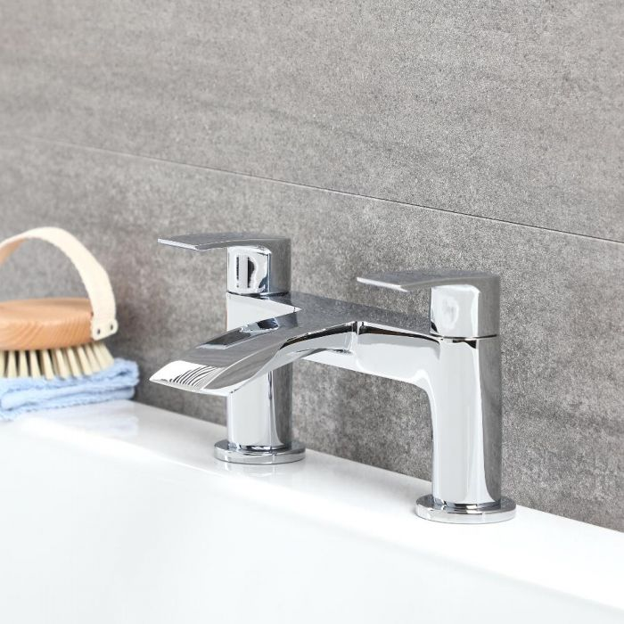 Milano Razor - Modern Deck Mounted Bath Filler Tap - Chrome