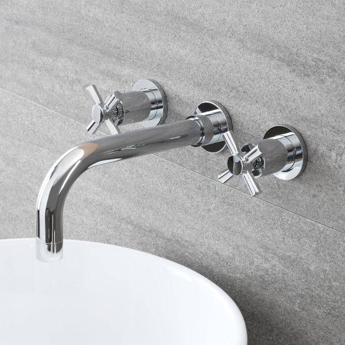 Milano Select - Modern Wall Mounted Basin Mixer Tap - Chrome