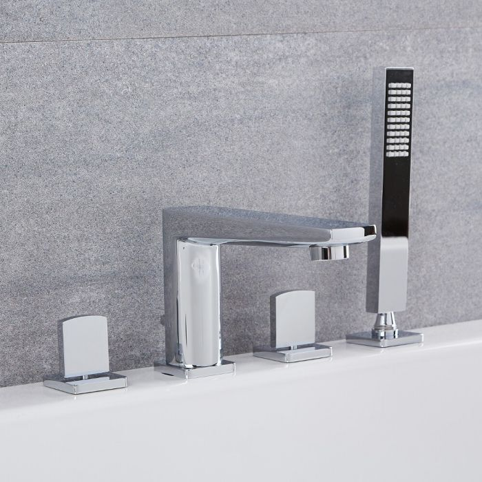 Milano Hunston - Modern Deck Mounted 4 Tap-Hole Bath Shower Mixer Tap with Hand Shower - Chrome