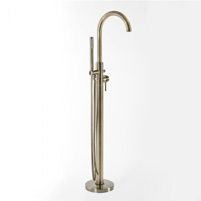 Milano Clarus - Modern Freestanding Bath Shower Mixer Tap with Hand Shower - Brushed Gold